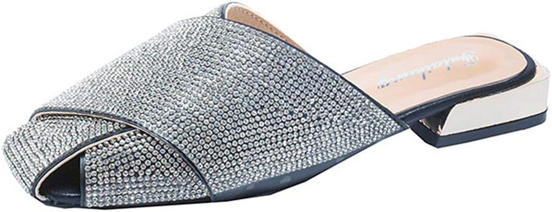 Super explosion Womens Retro Rhinestone Slip On Loafer Flats Mules Low Heel Dress Slipper shoes