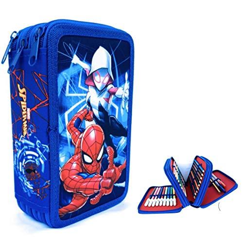 Estuches Spider Man de Lapìces Marvel, Estuche Spider-Man MARVEL,Triple con Tres Cremlleras, Estuche Escolar con Spider-Man, Gran Capacidad para la Escuela.