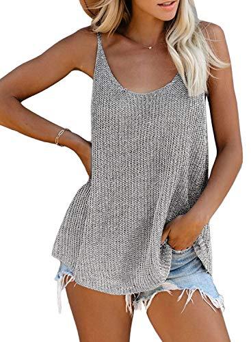 Bequemer Laden Damen Strick Sexy Tank Top Ärmellos T-Shirt Spaghettiträger Tunika Oberteil Casual Lock Top Bluse Shirt,Grau,M