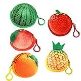 TENDYCOCO 5 unids Fruta 3D Billetera Fruta Monedero sandía Fresa Llavero Llavero Cartera Fruta (Fresa + sandía + melocotón + Naranja + piña)