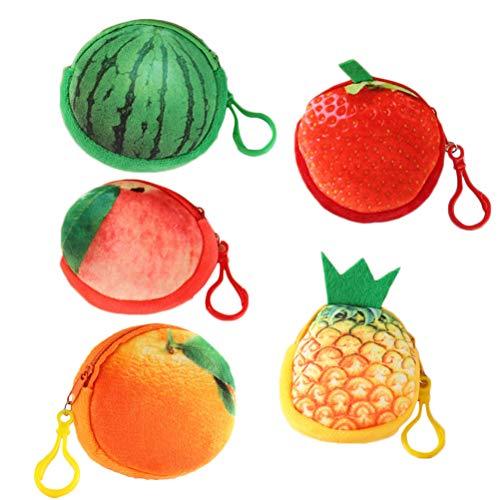 Lurrose 5 piezas adorables creativos mini 3D piña sandía fresa fruta monedero colgante cartera llavero (fresa + sandía + melocotón+naranja + piña)