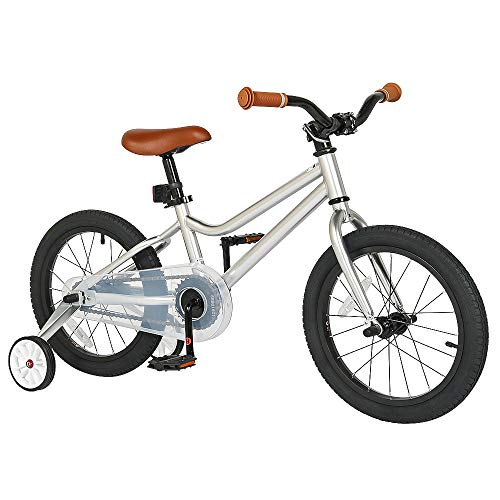 Kids Bike 16 inch with Training Wheels Children Bicycle 20 inch with Kickstand Boys Girls Bicycle (16 Inch, Silver)
