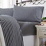Jersey Knit Sheets. All Season, Soft, Cozy King Jersey Sheets. T-Shirt Sheets. Jersey Cotton Sheets. Heather Cotton Jersey Bed Sheet Set. (King, Navy Stripe)