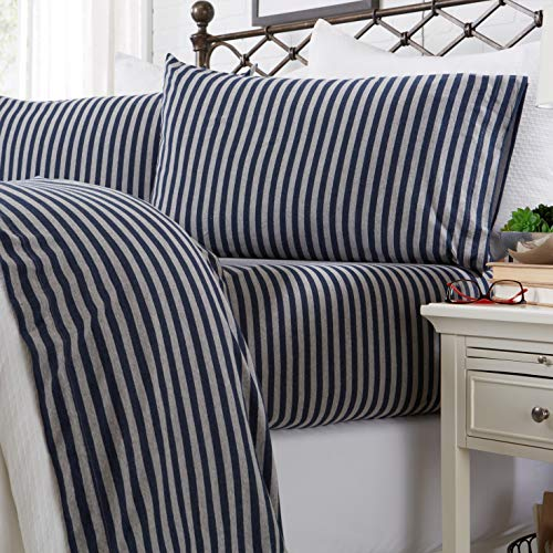 Great Bay Home Jersey Knit Sheets All Season Soft Cozy Queen Jersey Sheets TShirt Sheets Jersey Cotton Sheets Heather Cotton Jersey Bed Sheet Set Queen Navy Stripe