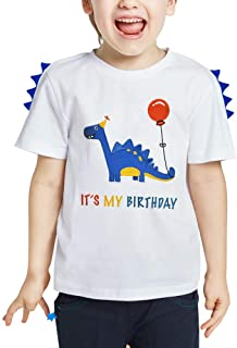 AMZTM Dinosaur Birthday T Shirt - Boy Dino B-Day Themed Party T-Shirt Tee Gift