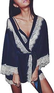 007XIXI 3PC Women Sexy Silk Kimono Babydoll Lace Lingerie Bathrobe Nightwear Bodysuit