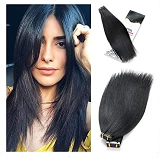 Rinboool Tape In Hair Extensions Remy Human Hair Jet Black #1 14Inch 40g 20Pcs