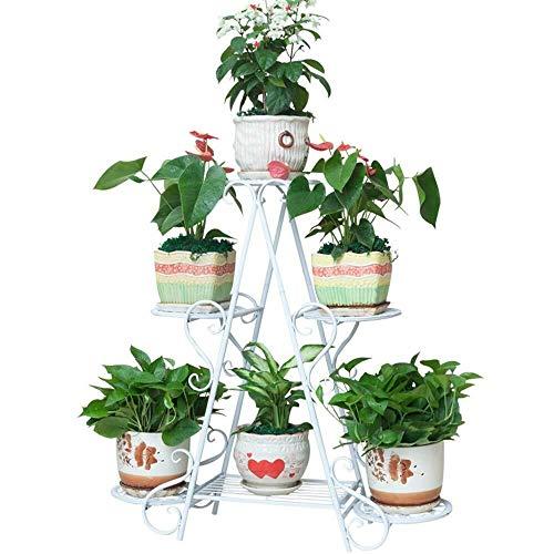 XWYHJ El Hierro Forjado Marco de la Flor en Capas Que Ahorra Espacio balcón bonsái Pantalla Marco de la Planta de pie 70 * 70 * 26 Cm (Color : Blanco, tamaño : Un tamaño)