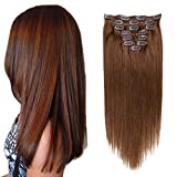 Clip in Hair Extensions Remi Human Hair for Women Full Head Remy Human Hair Clip in Extensions Double Weft Thick Straight Silky Real Hair Extensions 14inch 8pcs 100g/3.52Oz Chestnut Brown