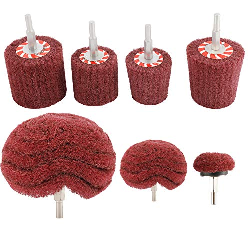 HighFree 7 PCS Non Woven Abrasive Buffing Wheels Drill Attachment Set, Scouring Pads Wheel with 1/4' Shank for Polishing Mirror Stainless Steel Copper Aluminum Wood-Wares