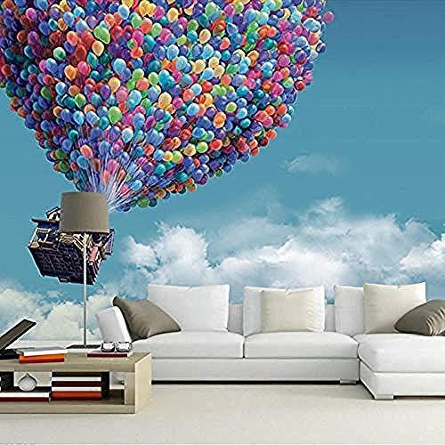 3D behang hete lucht ballon blauwe hemel witte wolken achtergrond grote muur schilderen woonkamer muur M niet-geweven zijde aangepaste 3D behang plakken woonkamer de muur voor slaapkamer muurschildering rand 150 cm.