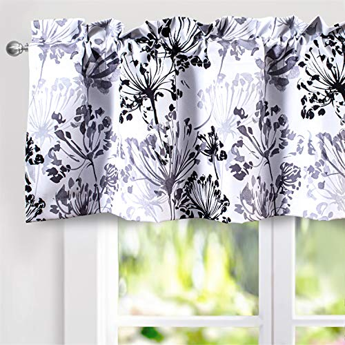 DriftAway Acacia Floral Blossom Watercolor Printed 100 Percent Blackout Thermal Insulated Window Curtain Valance Rod Pocket Single 52 Inch by 18 Inch Plus 2 Inch Header Gray