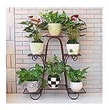 Schmiedeeisen Blume Mehrschichtige Bodenbelag Pflanze Display Regal Outdoor Indoor Garden, DTTX001, Braun