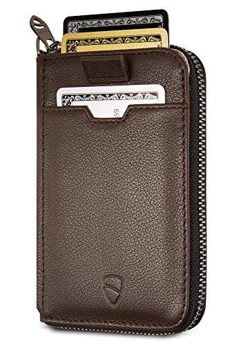 Vaultskin NOTTING HILL - Portafoglio sottile con chiusura a cerniera, con protezione RFID, per carte di credito, contanti, monete (Marrone)