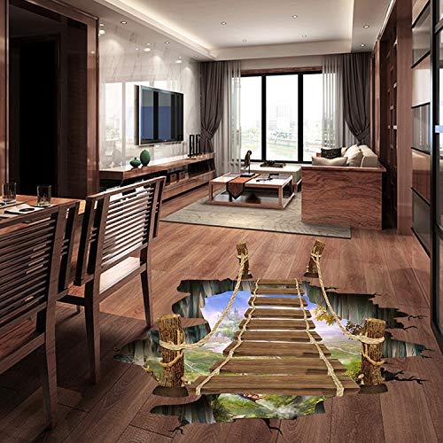 ZYLBL Pegatinas de pared creativas para colgar, diseño de puente de suspensión, 3D, para el hogar, sala de estar, dormitorio, oficina, decoración de 94 x 57 cm, 2 unidades