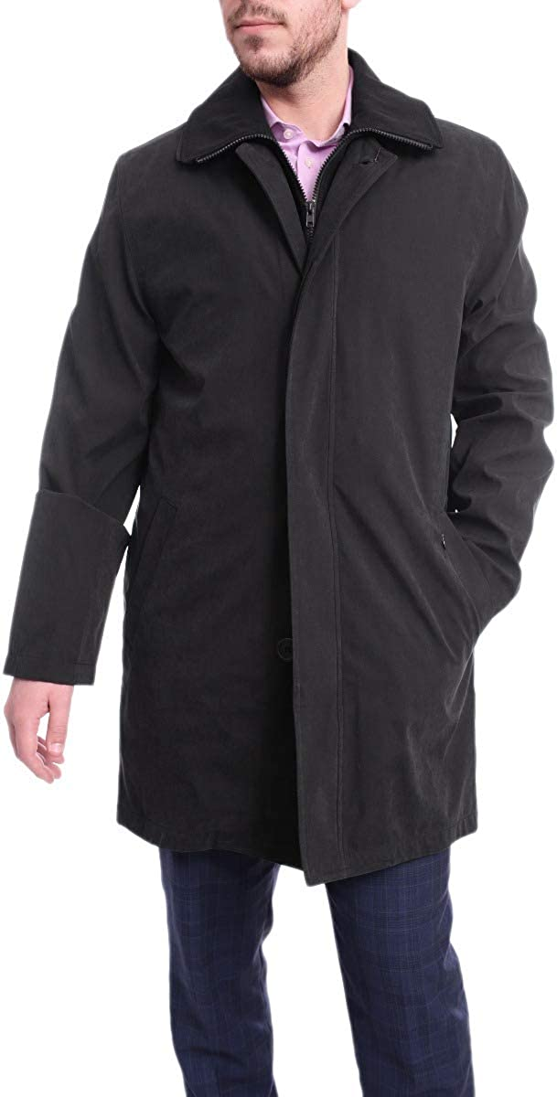 Men's Rain-Proof Iconic Black Trench Coat Jacket with Removable Liner