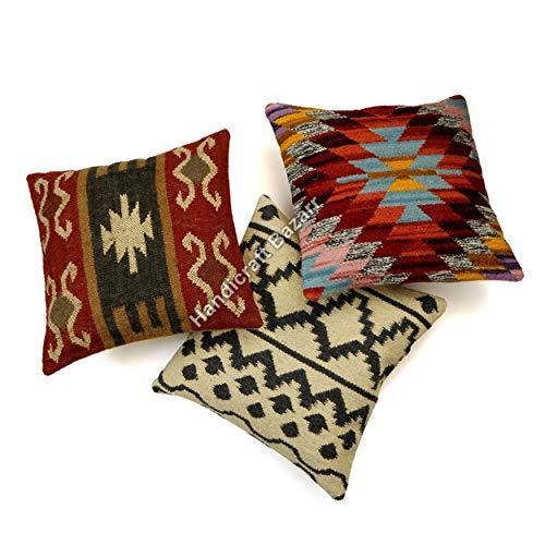 Set di 3 pezzi 45,5 x 45,7 cm Hippie Kilim lana iuta, cuscino indiano boho, decorativo per pavimento o divano, con nappe marocchine in iuta, federa per cuscino in lana indiana annodata a mano