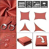 DJZYB サンシェイドセイル300D 160GSMポリエステルオックスフォード生地の防水ガーデンパティオサンシェイドセイルキャノピー屋外施設や活動16サイズ(カラー、レッド、サイズ、2x2.5m)、レッド、2x3m Z4Y0B8 (色 : 赤, サイズ : 5x5x7.1m)