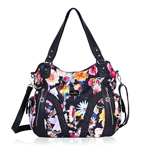 Angelkiss Women Top Handle Satchel Handbags Shoulder Bag Messenger Tote Washed Leather Purses Bag (Black-Flower) …