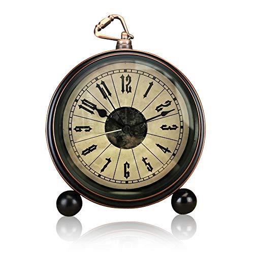ALEENFOON 13 cm klassisk retro väckarklocka, tickar inte tyst metall vintage antikt bord skrivbord hylla kvarts klocka, batteridriven högt uppvakning väckarklockor för sängbord sovrum resor (retro)