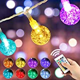 96FT Colored Globe String Lights, 16 Colors 75 LEDs Crystal Bubble Ball Fairy Lights, Remote Timer, 2-Pack 48FT Waterproof Indoor Outdoor Decorative Lighting for Home Wedding Birthday Party Bedroom