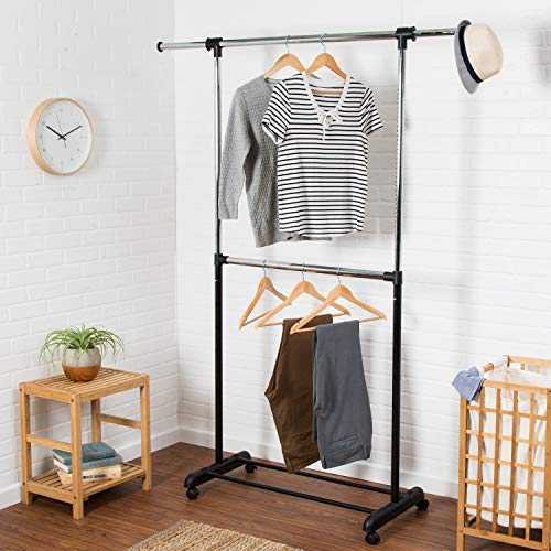 Honey-Can-Do GAR-01767 Dual Rod Expandable Garment Rack with Wheels, Up to 73-Inch