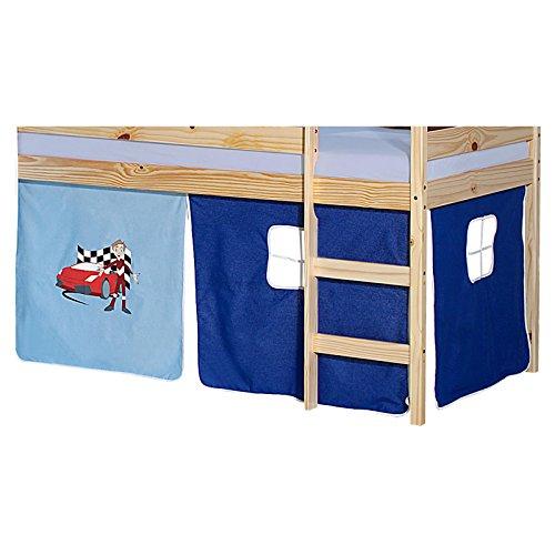 IDIMEX Vorhang Gardine Bettvorhang Auto zu Hochbett Rutschbett Spielbett in hellblau/dunkelblau mit Automotiv