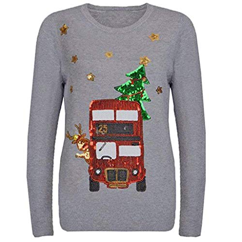 Best Deals! RUIVE Women's Sequin Christmas Pattern Print Tops Long Sleeve Crew Neck Basic Shirt Gi...