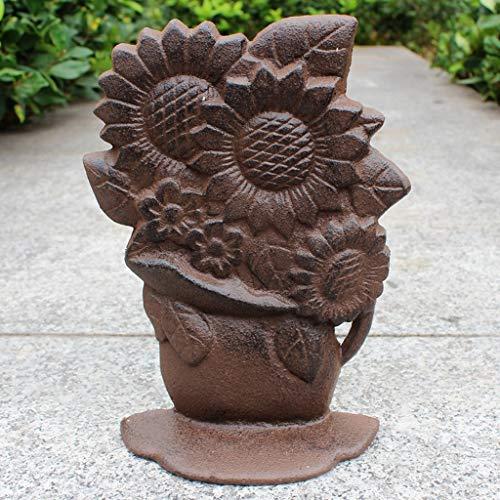 CKH Creatieve Europese Gietijzer Craft Smeedijzer Vintage Deur Stop Thuis Tuin Zonnebloem Decoratie Ornamenten
