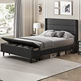 Tiptiper Queen Size Bed Frame, Modern Storage Bed with Ottoman Bench, Fabric Upholstered Platform Bed Frame with Wingback Headboard, Mattress Foundation, Wood Slats, No Box Spring Needed, Dark Grey