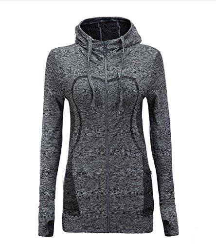 HIYAGON Lightweight Active Performance Full-Zip Hoodie Jacket(Grey) XL