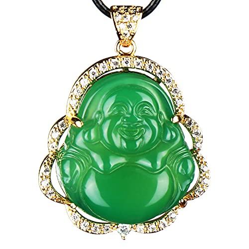 Buda reír Collar de moda transparente Joyería Colgante Amuleto (rojo)