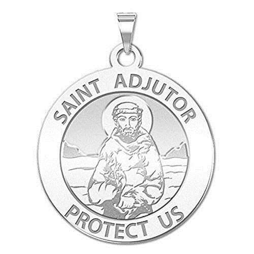PicturesOnGold.com Saint Adjutor Religious Medal - - 3/4 Inch Size of a Nickel -Sterling Silver