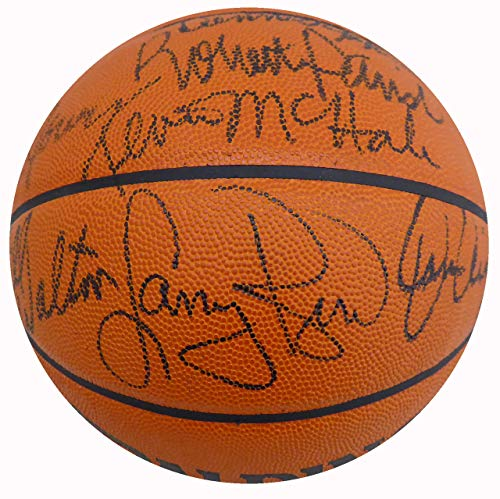 1985-86 Celtics NBA Champions Multi Signed Autographed NBA Game Basketball With 7 Signatures Including Larry Bird & Dennis Johnson Beckett BAS #A34726