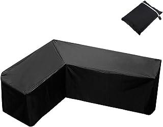 L Form Housse de protection pour meubles de jardin en forme de L imperméable à l'eau 420D anti-poussière, anti-UV avec sac...