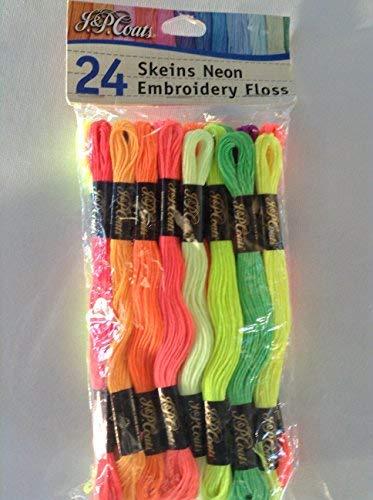 J & P Coats 24 Skeins Neon Embriodery Floss