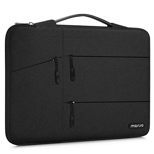 MOSISO 360 Protective Laptop Sleeve Compatible with 13-13.3 inch MacBook Pro, MacBook Air, Notebook Computer, Polyester Bag with Organizer Pockets&Trolley Belt, Black