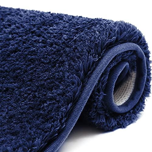 Color&Geometry Alfombrilla de Baño, Alfombra de Baño, Microfibra Suave, Esponjosa, Ultra Absorbente, Antideslizante, Lavable a Máquina, 50 x 80 cm (Azul)