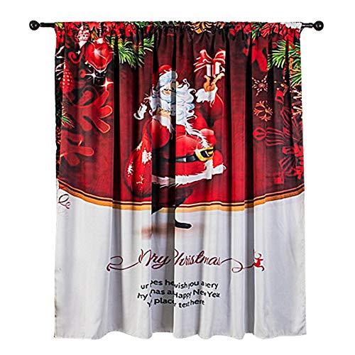 Omabeta Gospodarstwo domowe urocze Wesołych Świąt zasłona okienna wodoodporna zasłona zasłony łazienka przyjęcie dekoracja 140 x 130 cm do domu (czerwona)
