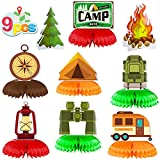 9 Pieces Happy Camper Theme Honeycomb Centerpieces, Camping Adventure Table Topper Decorations for Boys Girls Adults Camping Theme Birthday Party Supplies, Tent Bonfire Baby Shower Indoor Outdoor Camping Classroom Decor