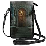 Women Small Cell Phone Purse Crossbody,Roman Pavilion Lantern Ivy On Pillars Under Dome Medieval...
