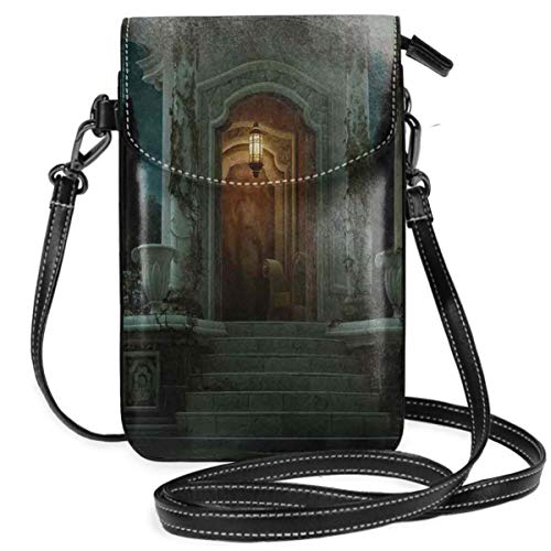 Jiger Women Small Cell Phone Purse Crossbody,Roman Pavilion Lantern Ivy On Pillars Under Dome Medieval Architecture Mystic Theme