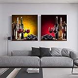 HHLSS Cuadros de Pared 2x80x80cm sin Marco UVA Vino Bodegón Pinturas artísticas Impresión de Carteles e Impresiones Imágenes de Vino Moderno para la decoración de la Sala de Estar