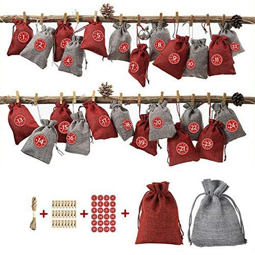 Tocawe Adventskalender zum Befüllen - Stoffbeutel, 24 Weihnachten Geschenksäckchen mit Aufkleber, Mini-Holzklammern und 10m Jute Hanfseile, Weihnachtskalender tüten Geschenkbeutel 13.5*9.5cm(Stil F)
