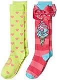 JoJo Siwa Big Girl's 2 Pack Knee High, pink bow, Fits Sock Size 6-8.5 Fits Shoe Size 7.5-3.5