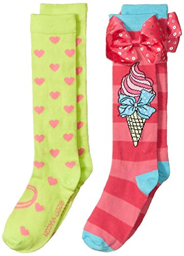 Jojo Siwa Big Girl's 2 Pack Knee High, pink bow, Fits Sock Size 6-8.5; Fits Shoe Size 7.5-3.5