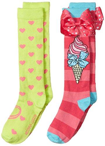 JoJo Siwa girls Jojo Siwa 2 Pack Knee High Casual Sock, Pink Bow, Fits Sock Size 6-8.5 Fits Shoe Size 7.5-3.5 US