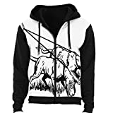Two Hound Dogs - - Animal,Men's Women's Long-Sleeve Hooded Full-Zip Jacket Bloodhound L