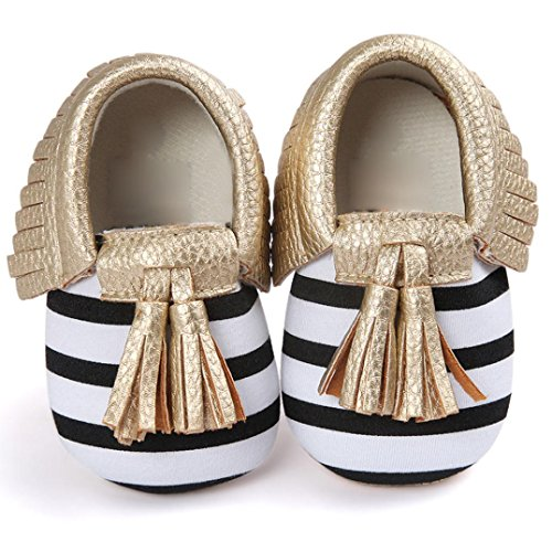 Voberry Infant Toddlers Baby Boys Girls Soft Soled Tassel Crib Shoes PU Moccasins (0~6 Month, Gold stripe)