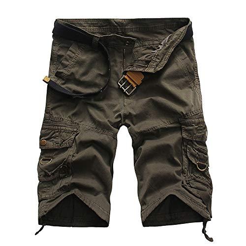 BOZEVON Shorts pour Hommes - Shorts d'été à Outils décontractés Shorts de Sport à Poches Multiples (35, Gris)